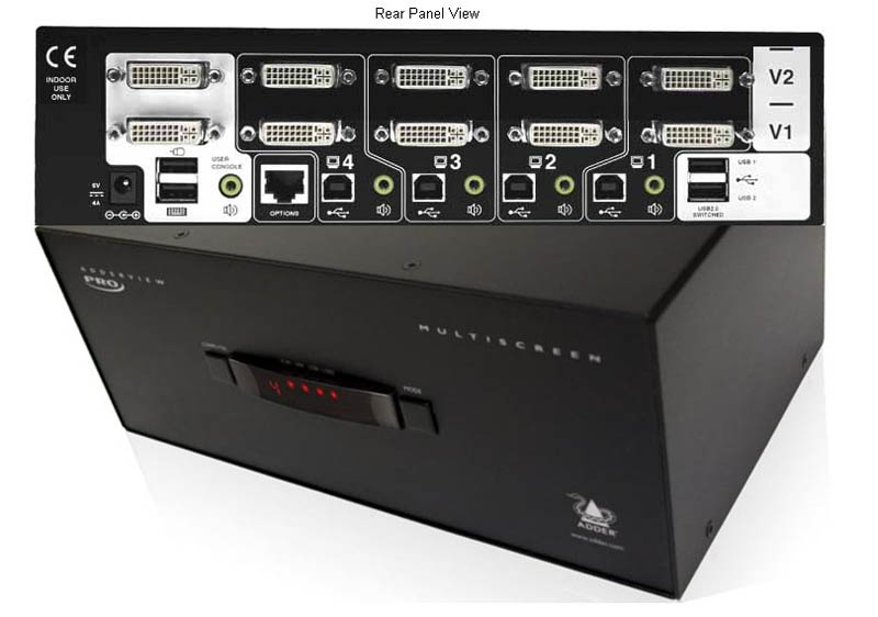 ADDERView AV4 Pro DL-DVI Dual Head KVM Switch