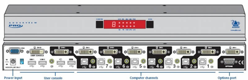 ADDERView 8 Port Dual Link DVI, VGA, USB2.0 and Audio, KVMA Switch
