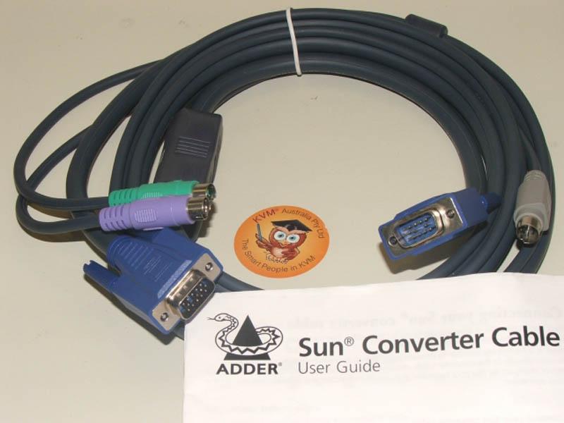 ADDER KVM Interface Cable SUN 8 Pin & VGA - PS/2 & VGA 2m