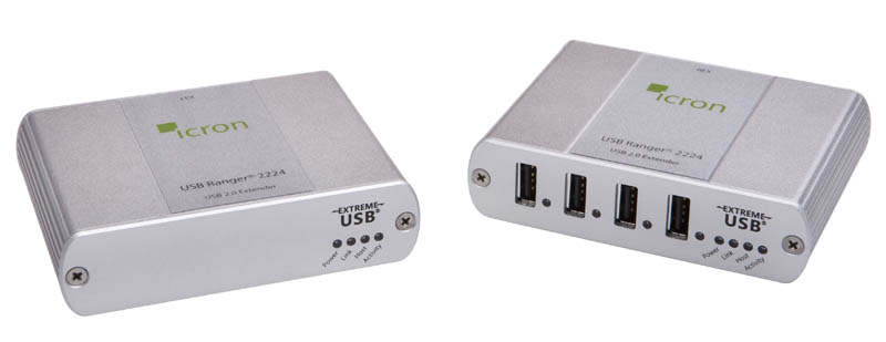 Icron USB2.0 Ranger 2224 Four-port Multi-mode Fiber 500 meter extender. 00-00263  2224