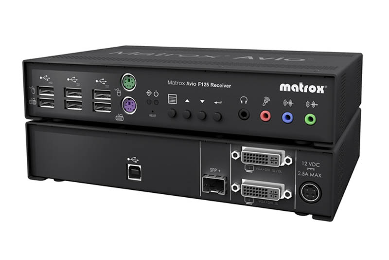 Matrox Avio F125 Dual-DVI MM Fiber Optic KVM Extender Receiver