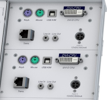 GDSys computer module DVI-U-CPU-FSC variant offers all the connectors of the device on the front, designed for rackmount usage.