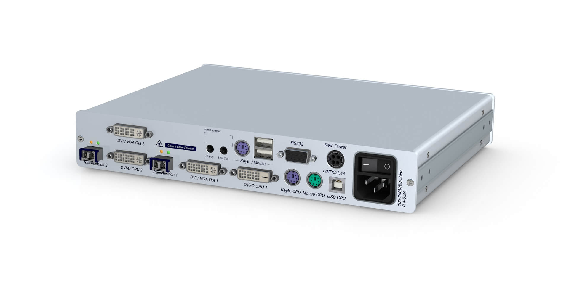 GDSys DVI-Vision Fiber MM MC2-AR Extender - Transmitter Module - Single Tx 2xDVI-SL PS/2-USB Audio RS232 - Desktop