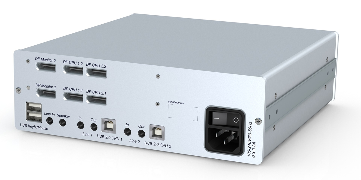 GDSYS Display Port, 2 Port, DualHead KVM switch for native 4K UltraHD resolution over DisplayPort™ 1.2