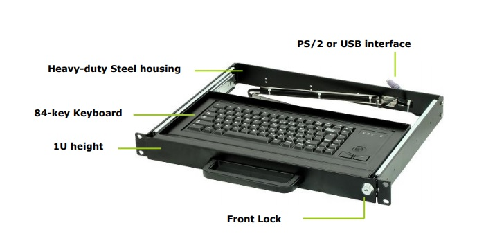 Keyboard Drawer- 1U, Trackball, English Cherry & PS/2 Keyboard with USB/PS/2 adapter cable , Black color - EOL Only 1 Available