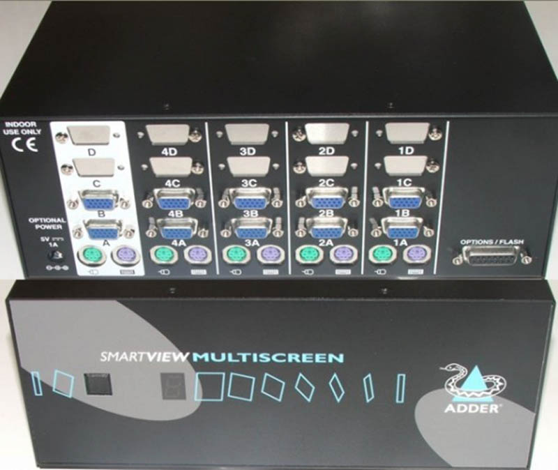 Adder Smartview DVI Multiscreen 2port (QUAD VIDEO) KVM Switch - Discontinued
