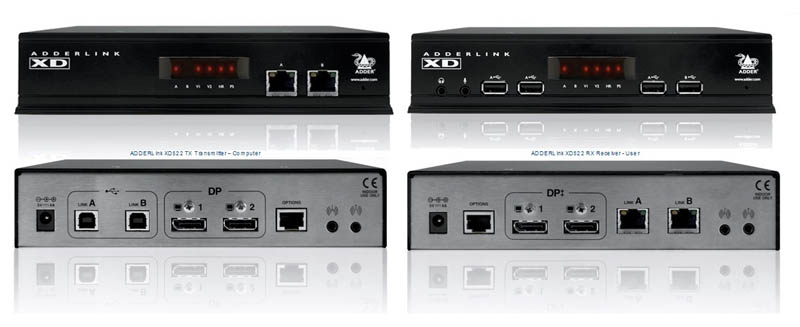 ADDERLink 4K UHD or Dual link at HDR10 Display Port Video Extender - 2 DP Streams, 100mts
