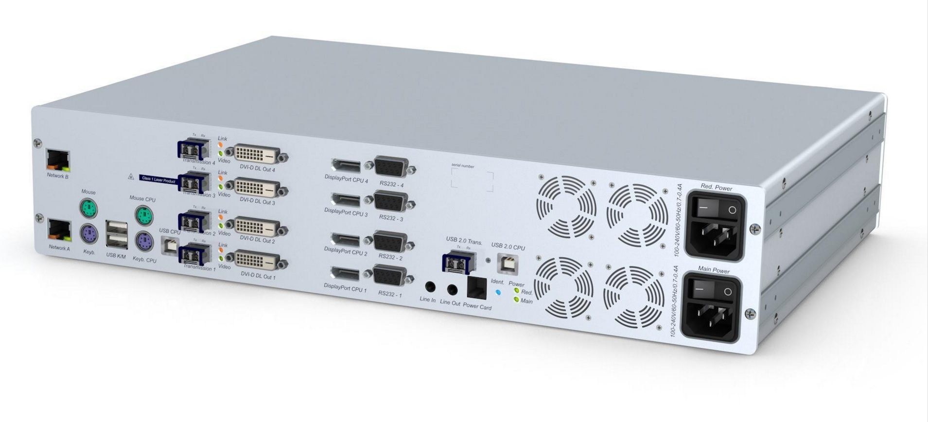 GDsys DL-Vision-DP(S)-MC4-ARU2+CPU Transmitter Unit  - 4x DP PS/2-USB Audio RS232 USB 2.0 DT/RM