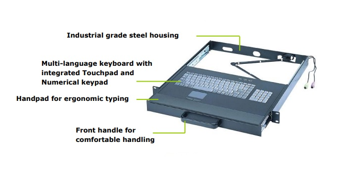 Keyboard Drawer with USB Touchpad and USB keyboard, black color, 1U  - EOL