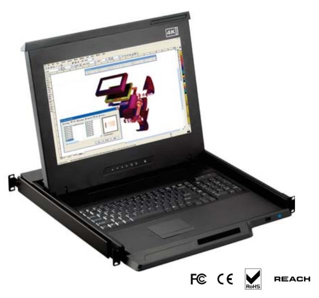 CyberView 1U 17 4K LCD Console Drawer; DP + USB KB + MS; Keyboard W/Touch Pad;