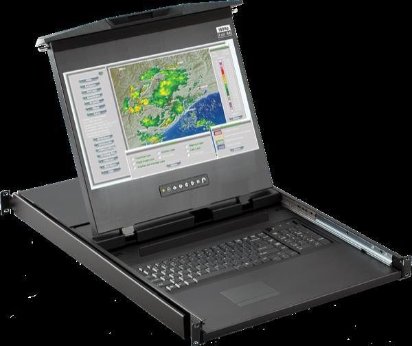 Cyberview Dual Slide 1U Hi Res LCD console drawer w/ 8-port IP (1080IP) Cat6 KVM switch