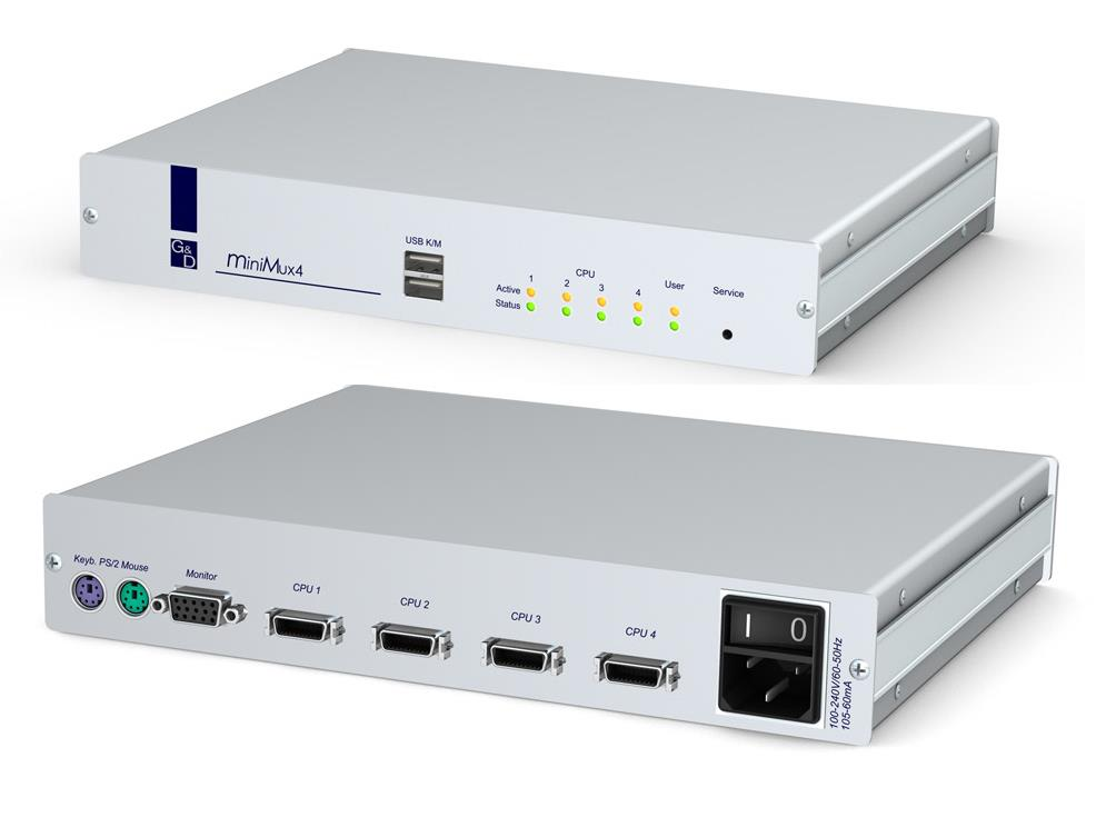 G&D miniMux4, Enables you to operate four computers from one user console. Supports VGA, USB/PS2, Rackmount