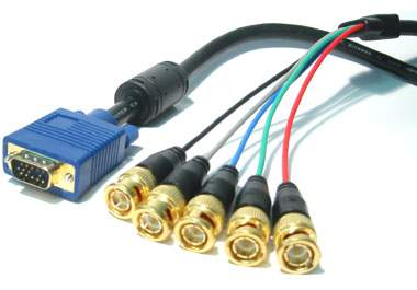 5M Gold HD15M to 5 x BNC Male RGB Video Cable