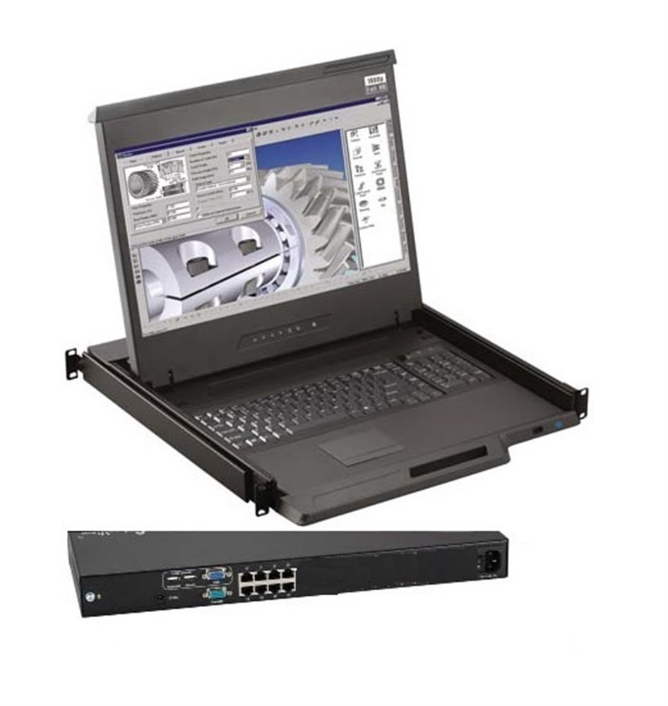 """Austin Hughes 1U 16.2"""" High Res LCD Console Drawer with integrated 8 port CAT6 KVM Switch"""