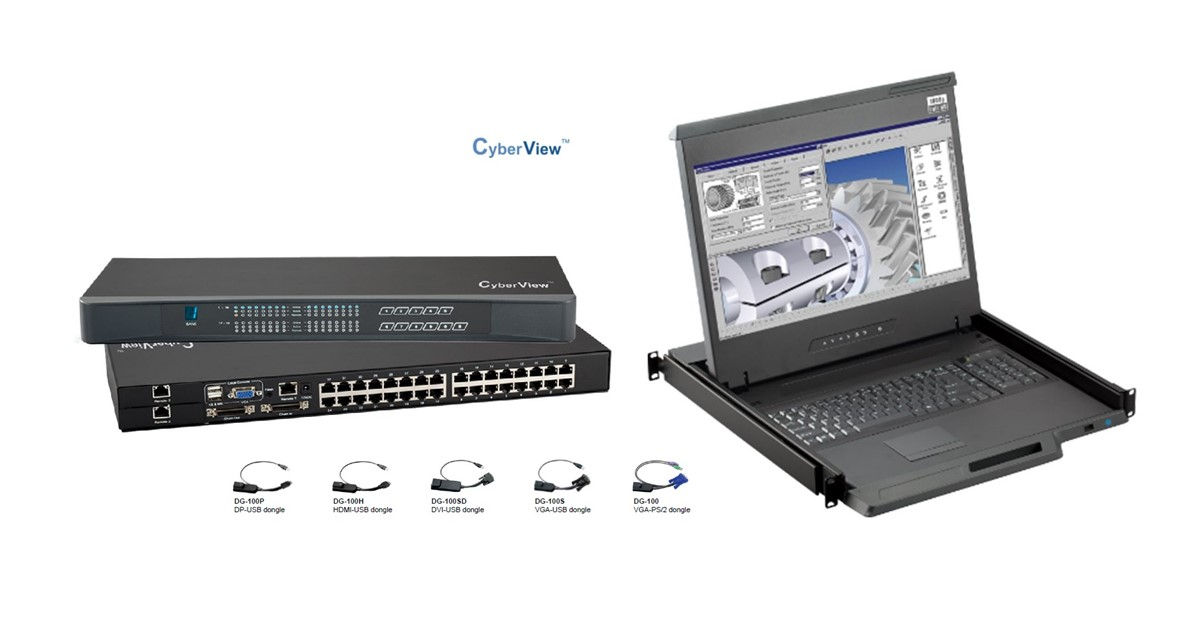 CyberView 17 Widescreen LCD 1920 x 1080 Console, 2 IP User access  w/ 16 port CatX integrated KVM Switch w/Touchpad