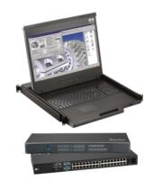 Cyberview F117 1920 x 1080 1U LCD console drawer integrated w/16-Port Combo Cat6 KVM Switch